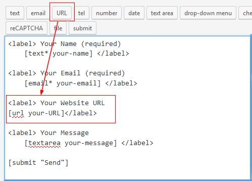 Insert URL form tag