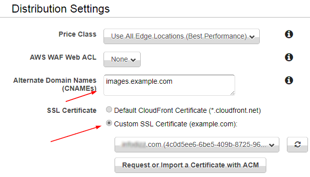 Cloudfront distribution settings