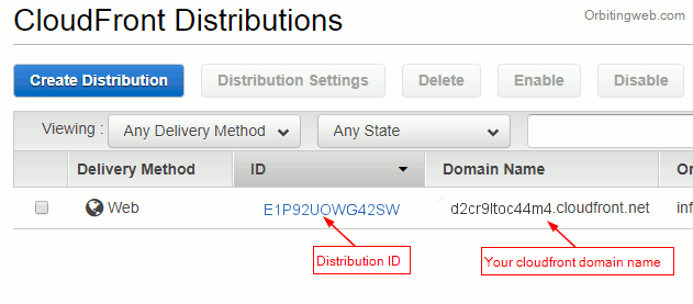 Cloudfront domain name and ID