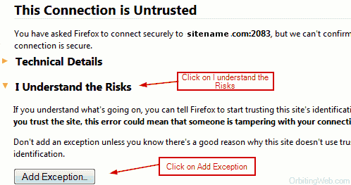 Cpanel Https Connection Warning