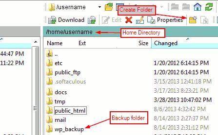 Creating backup folder in server