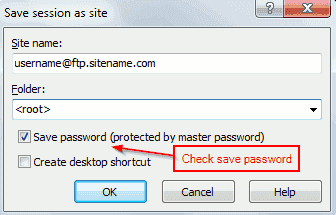 Save FTP details - Winscp