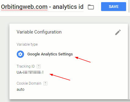 Set google analytics ID in GTM