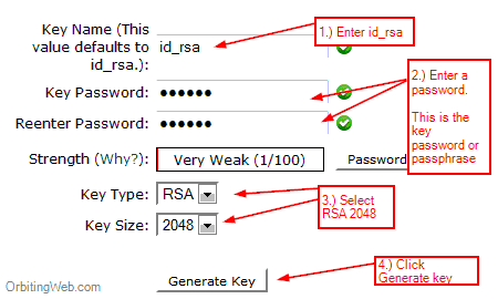 Generate ssh key in Cpanel