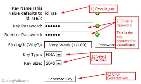 Generate ssh key in Cpanel
