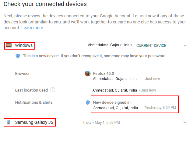 Gmail connected devices