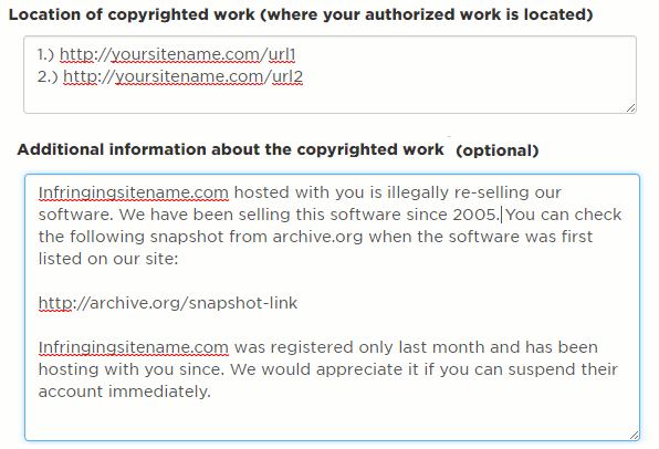 sample Hostgator DMCA filing