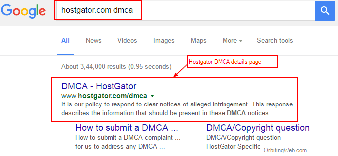 Hostgator DMCA page