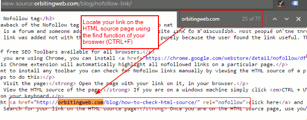 Identify nofollow links html source