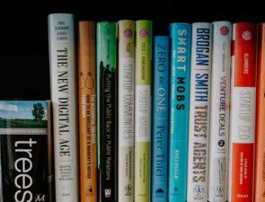 Marketing books on a shelf