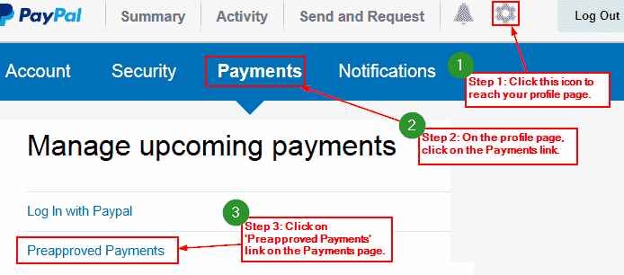 Paypal profile page
