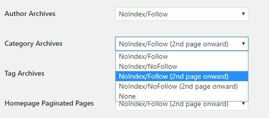 Noindex settings for wordpress