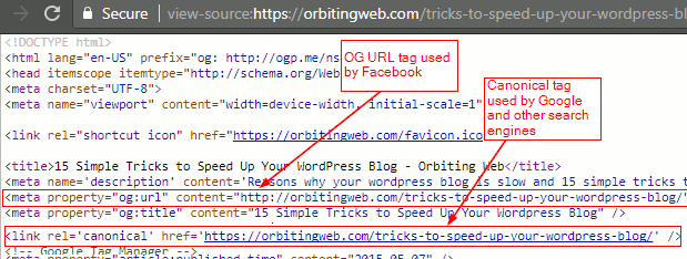 HTML source to check og tags