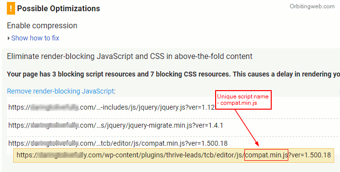 Page speed render blocking js