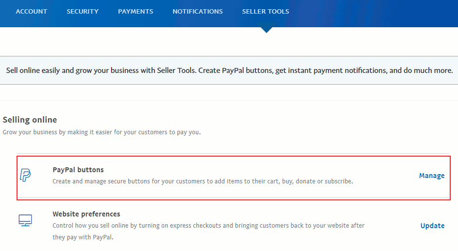 Paypal button manage