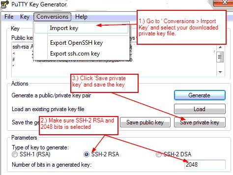 Convert key to PPK Using Puttygen