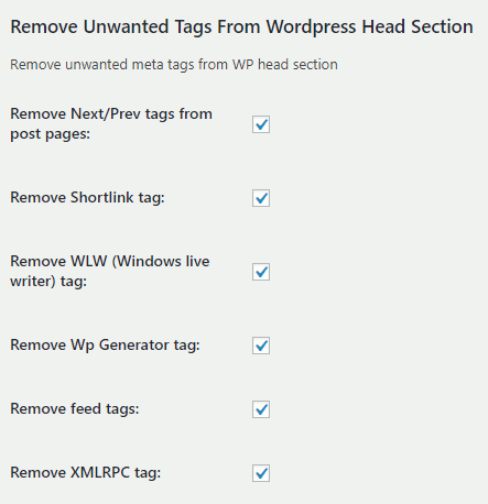 Remove unwanted tags settings