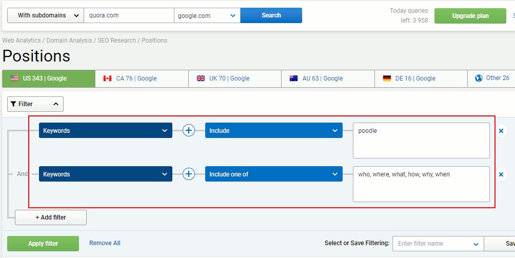 SERPstat keyword filter