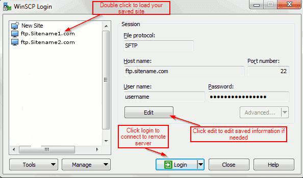 WinSCP Server Login