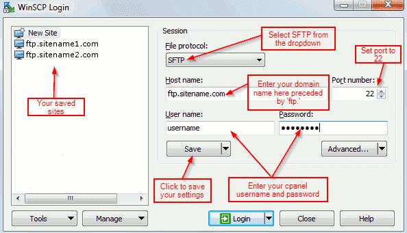 SFTP Settings for Winscp