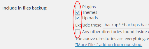 UpdraftPlus files to include