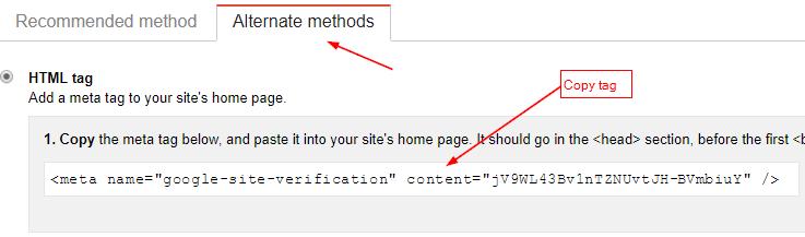 Webmaster tools html tag