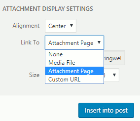 Wordpress attachment display settings